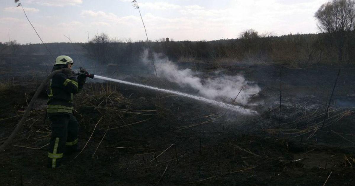 В Черкасской области третьи сутки горят торфяники: местность окутала дымовая завеса
