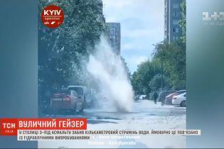 У Києві поблизу Індустріального шляхопроводу з-під землі забив струмінь води
