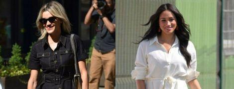 Чорне vs біле: Ешлі Робертс і герцогиня Меган в сукнях-сорочках