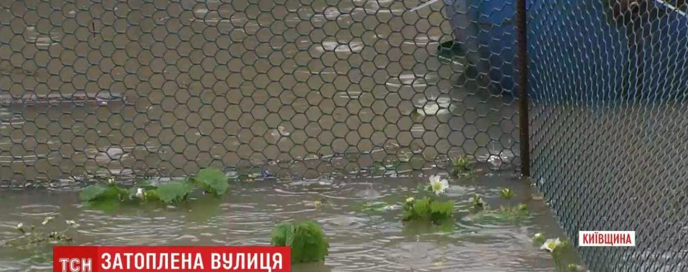 Поплыли садовая мебель и овощи: в Буче затопило пол улицы