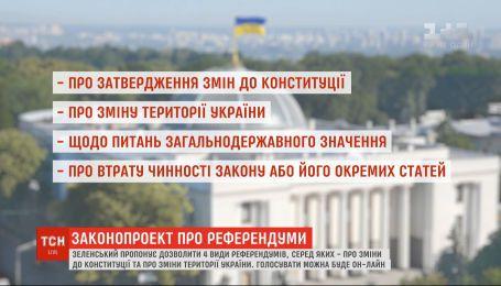 Володимир Зеленський пропонує запровадити чотири види національних референдумів