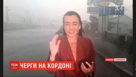 Пряме ввімкнення кореспондентки ТСН зірвала потужна злива