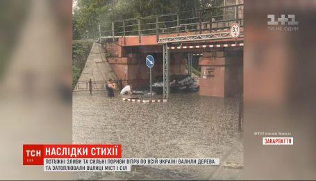 Мощные ливни и сильные порывы ветра натворили беды по всей Украине