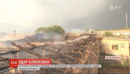 Блискавка знищила ферму у Хмельницькій області