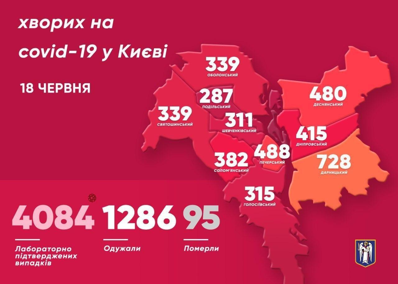 Коронавірус у Києві - мапа інфікованих районів станом на 18 червня