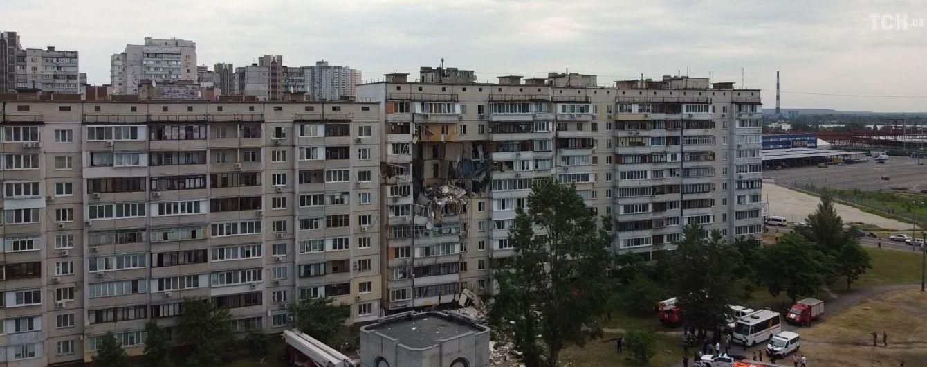 Взрыв в доме в Киеве: как выглядит разрушенная многоэтажка на видео с квадрокоптера
