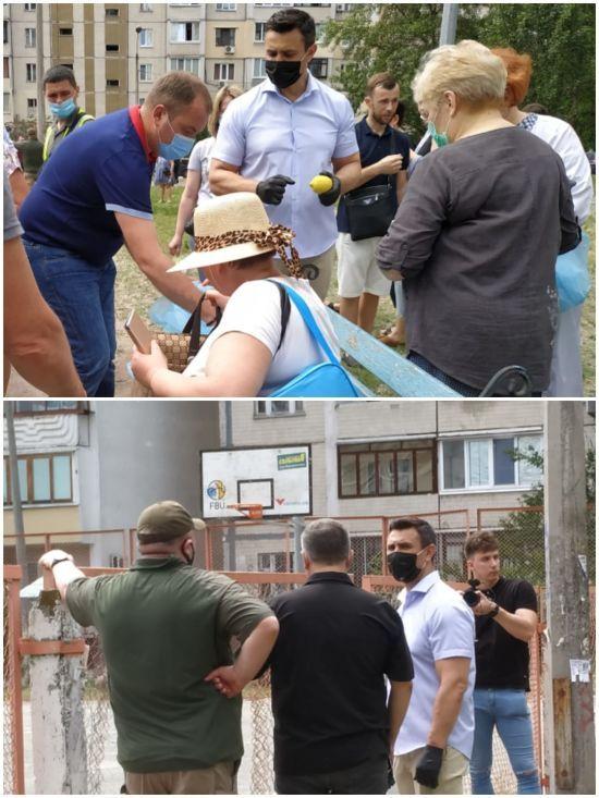 Нардеп Тищенко привіз жителям будинку, що вибухнув на Позняках, лимони