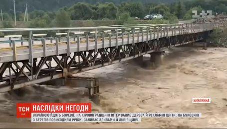 Негода в Україні: буревії виривали дерева, ламали рекламні щити і затопили вулиці