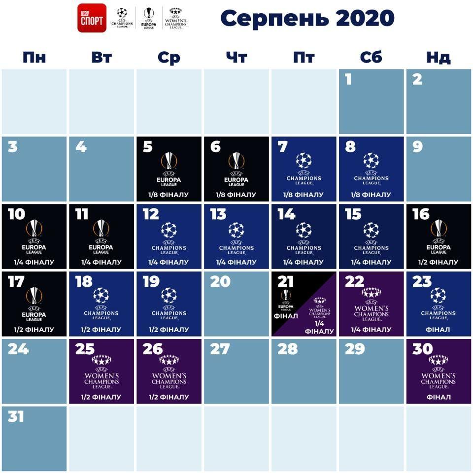 єврокубки у серпні інфографіка, календар догравання ліги чемпіонів