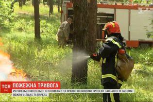 Спасатели в окрестностях Киева отработали тушение пожаров в парках и лесах