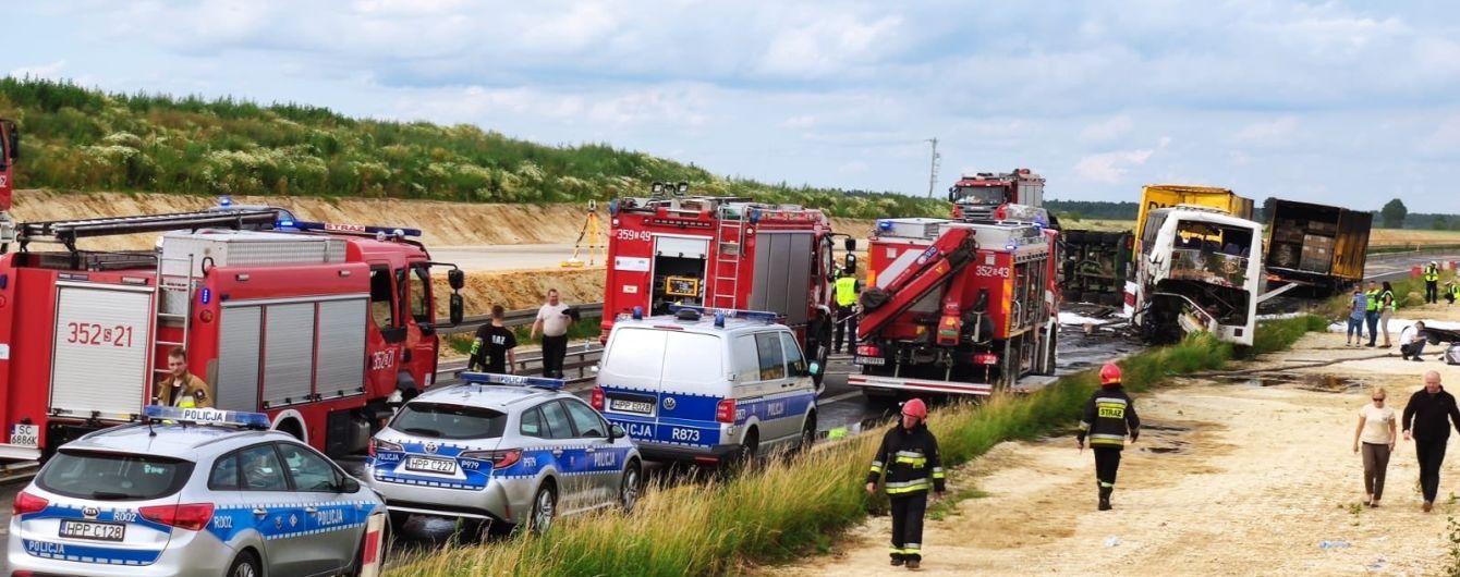 У Польщі автобус з українцями зіткнувся з двома вантажівками: 16 осіб травмовано