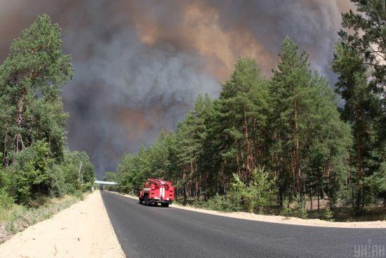 Масштабну лісову пожежу в Луганській області показали з висоти пташиного польоту