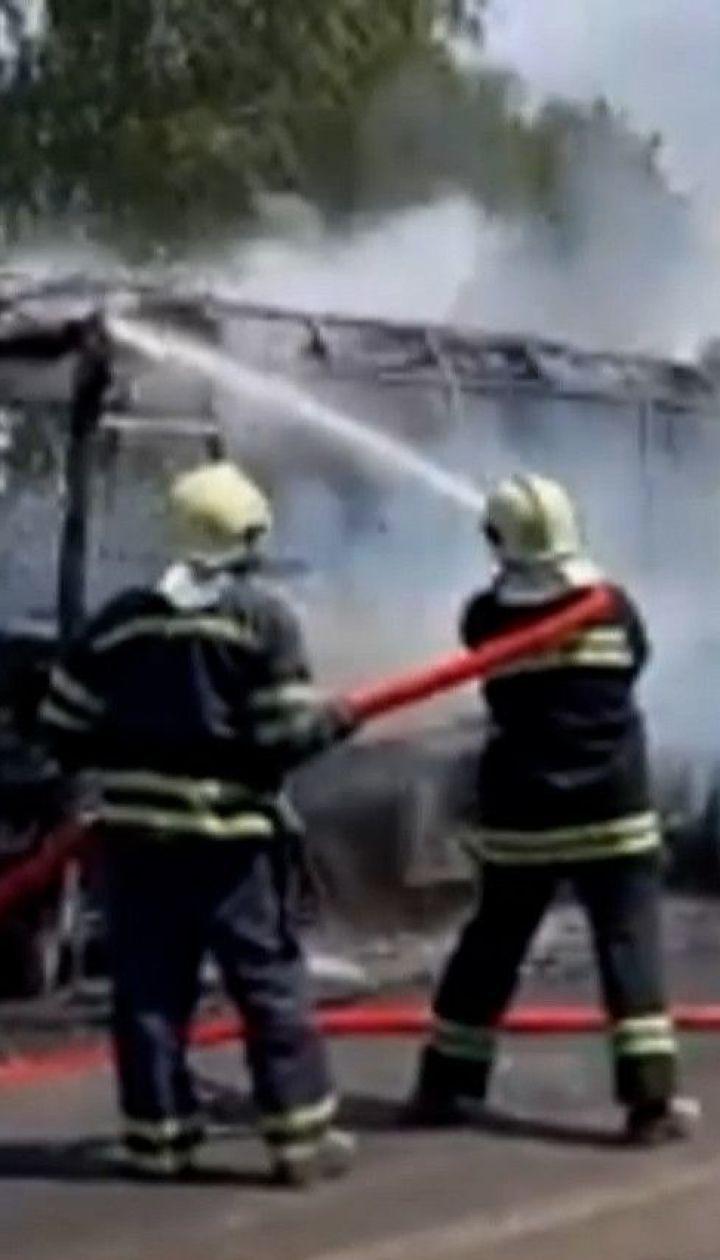 Под Черкассами загорелся пассажирский автобус