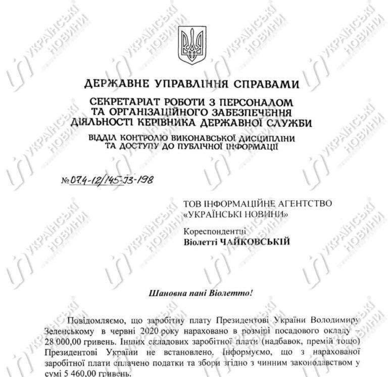 Зарплата Зеленського в червні