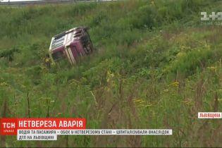У Львівській області перекинулася маршрутка з одним пасажиром