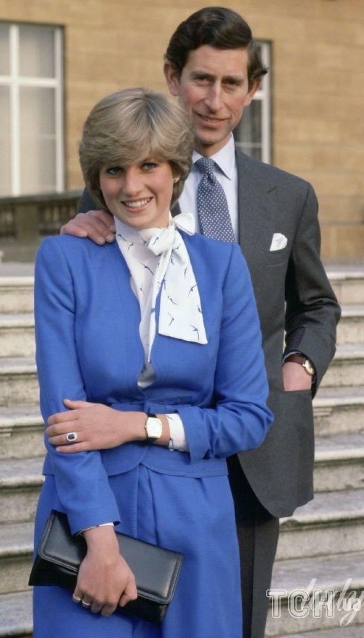 Принц Чарльз и принцесса Диана в день помолвки