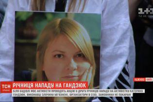 Активисты вышли к зданию МВД добиться наказания заказчиков нападения на Екатерину Гандзюк