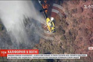 Пожежі у Каліфорнії: у вогні вже понад 10 тисяч гектарів лісу