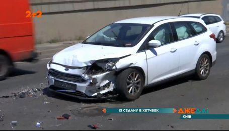 Авария на Дарницком мосту вызвала огромную пробку