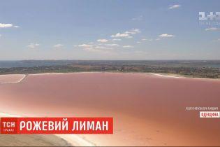 Незвичне природне явище: Куяльницький лиман перефарбувався у червоно-рожевий колір
