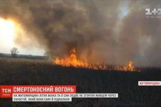 У Житомирській області літня жінка з її сином ледь не згоріли через підпал сухостою