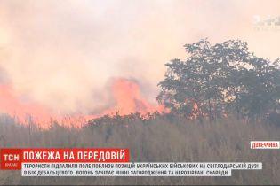 Терористи підпалили поле поблизу українських позицій на Світлодарській дузі