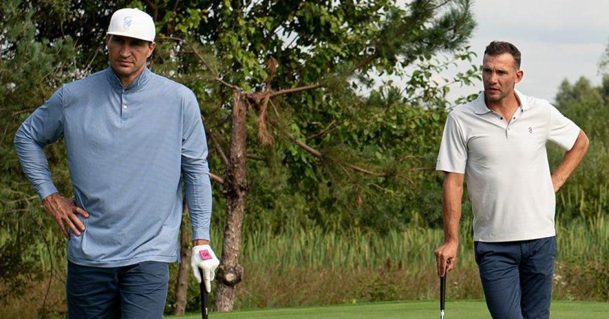 Спортивные легенды на одном поле: Усик, Кличко и Шевченко приняли участие в международном турнире по гольфу