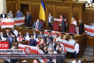 Депутаты ВР поддержали протестующих и выступали с трибуны под белорусскими знаменами