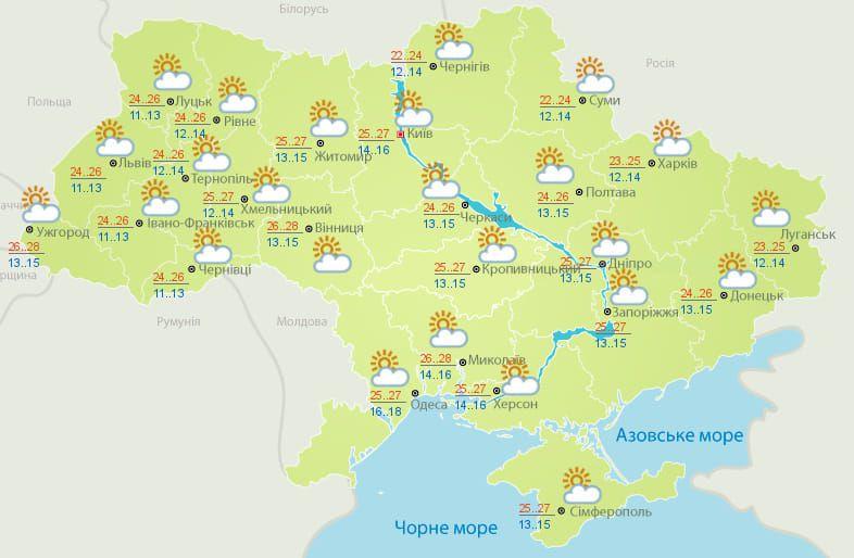 Погода 15 вересня
