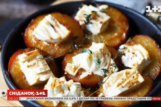 Персики и сливы на гриле с сыром и компот из слив