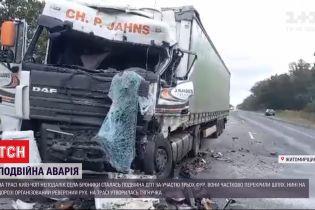 """Большая пробка: на трассе """"Киев-Чоп"""" произошло двойное ДТП с участием фур"""