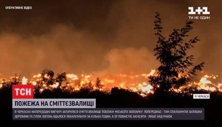 Огонь вблизи зоопарка: в Черкассах загорелась свалка