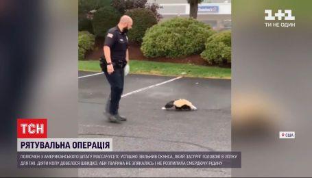 Американский полицейский освободил скунса, который застрял в лотке для еды