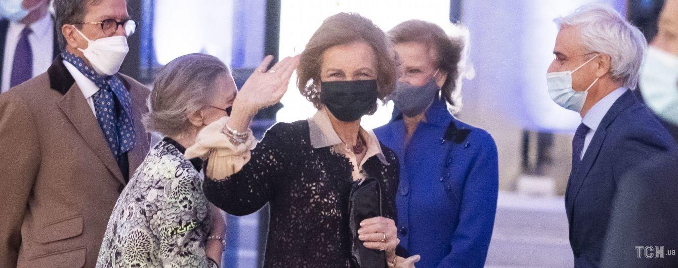 В кружевной накидке: 81-летняя королева София посетила мероприятие в Мадриде