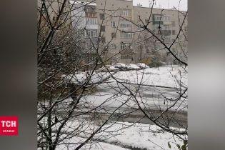 Шостку засыпало первым снегом