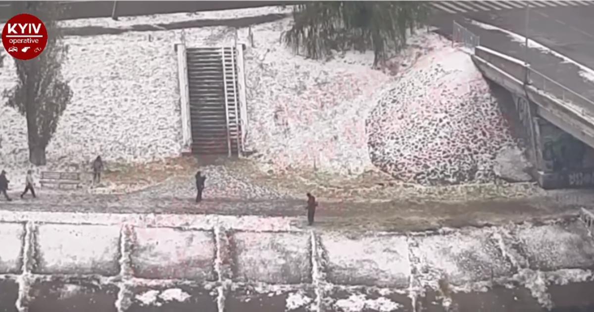 В Киеве коммунальщики решили постричь газон под снегом: появилось видео