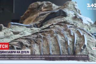 Музею в США передали окаменелые скелеты двух динозавров, которые застыли во время битвы