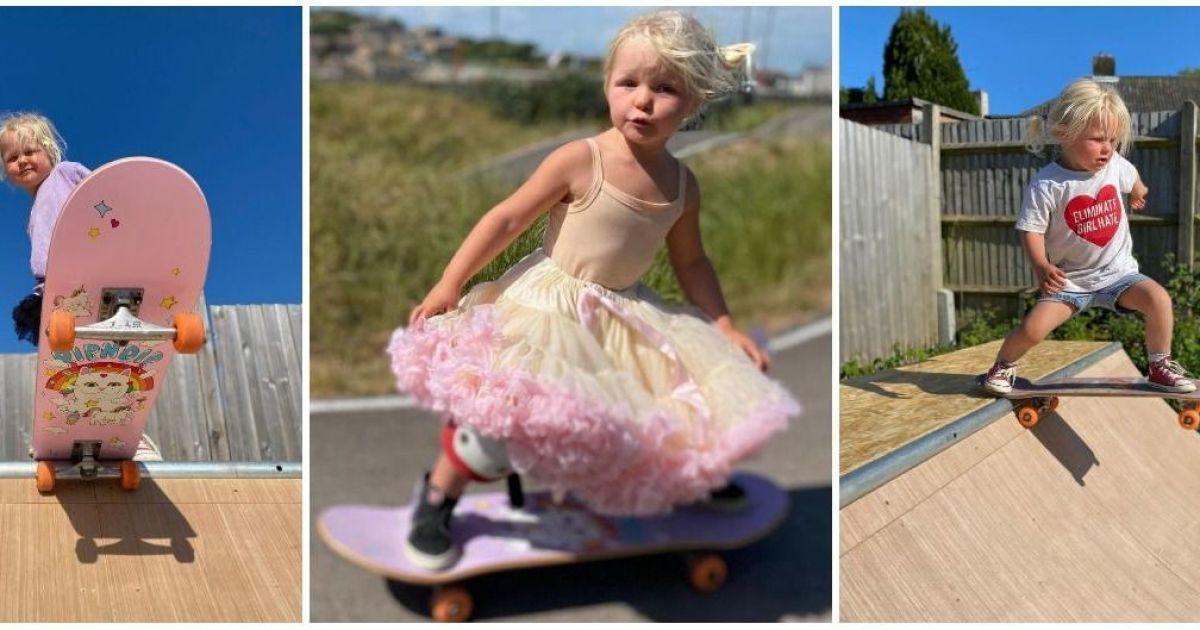 """4-річна скейтбордистка """"підриває"""" Мережу: крихітка прославилася трюками у рожевій спідниці-пачці"""