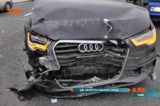 Жуткая двойная авария произошла в Киеве