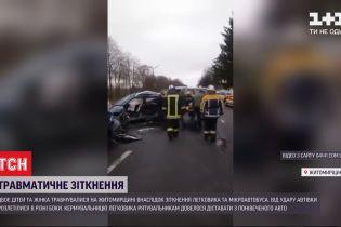В Житомирской области столкнулись легковушка и микроавтобус - женщина и двое детей пострадали