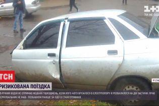 19-летний водитель из Сум, который накануне въехал в электроопору, был за рулем без прав