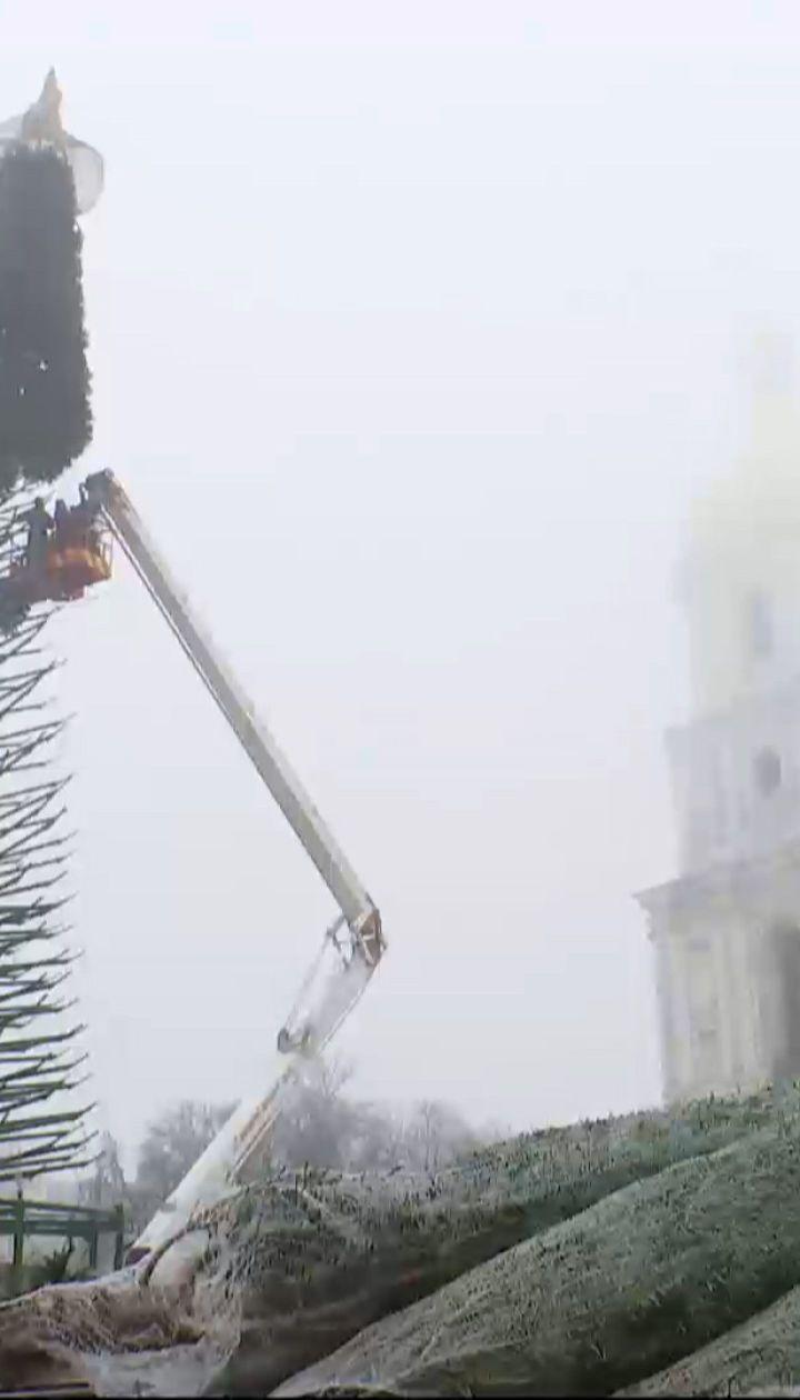 """""""Озеленение"""" главной елки страны: на металлический каркас дерева начали прикреплять искусственные ветки"""