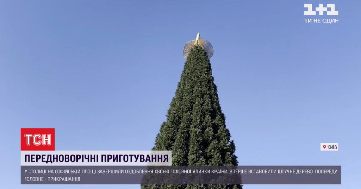 В Киеве на Софийской площади завершили собирать главную елку страны
