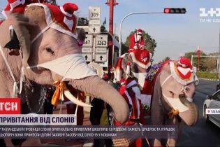 У Таїланді слони у святковому вбранні роздавали дітям у подарунок захисні маски