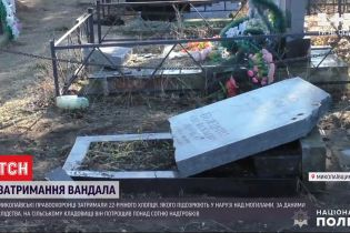 У Миколаївській області затримали вандала, який розбив надгробки на сільському цвинтарі
