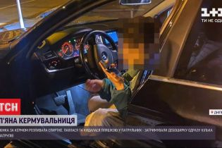 В Днепре пьяная женщина за рулем бросалась бутылкой в патрульных, когда те пытались ее задержать