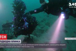 Старий Новий рік під водою: дайвери встановили ялинку на дні затопленого кар'єру