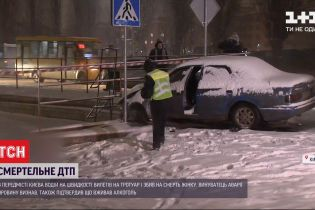 В пригороде Киева водитель на скорости вылетел на тротуар и сбил женщину