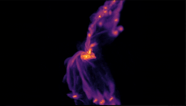 Змодельоване зіткнення галактик, яке призвело до утворення галактики, аналогічної 2299.