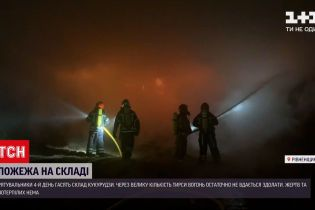 В Ровенской области загорелся склад кукурузы